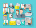 Documentation concept flat with office workers and archive organizing icons set vector illustration Stock Photography