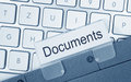 Documents folder on computer closeup of business or laptop keyboard Stock Image