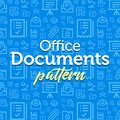 Documents pattern illustration with vector outline simple flat icons on texture background
