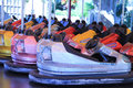 Dodgem cars in a row on fun fair Royalty Free Stock Image