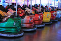 Dodgem cars in a row on fun fair Royalty Free Stock Photo