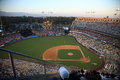 Dodger stadium los angeles dodgers at dusk for a baseball game in Royalty Free Stock Images