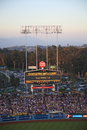 Dodger stadium los angeles dodgers scoreboard at dusk during a baseball game in Royalty Free Stock Image