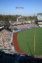 Dodger stadium outfield scoreboard sunny day los angeles baseball game Royalty Free Stock Photo