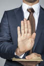 Does not accept the refusal business man Stock Photography