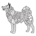 Dog adult antistress or children coloring page.