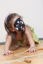 Dog alike painted girl's face Stock Photo
