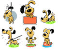 Dog animal cartoon pet cute smiling died playing barks meditating and sleeping pooping Royalty Free Stock Photography