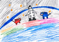 Dog astronauts. child drawing. Stock Images