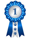 Dog award ribbon rosette competition winner silver blue with no on center Royalty Free Stock Image