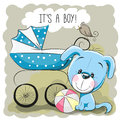 Dog with baby carriage greeting card it s a boy and Stock Photos