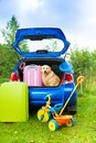 Dog bags toys car ready for trip packing the waiting in the trunk with trickle ball scoop net Royalty Free Stock Photos
