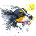 Dog and ball illustration with splash watercolor textured background.