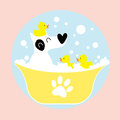 Dog bathing with rubber duck Stock Photo