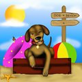 Dog on the beach drawing with Royalty Free Stock Photos