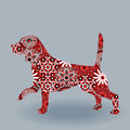 Dog Beagle with stylized flowers over grey Royalty Free Stock Photo
