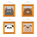 Dog, bear, cat, panda head. Picture frame hanging on the wall. Cute cartoon character set. Pet forest wildlife animal baby collect