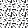 Dog bones and paws pattern a random of dogs Stock Photography