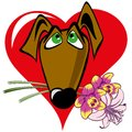 Dog with a bouquet on the background of the heart Royalty Free Stock Images