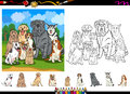Dog breeds cartoon coloring page set illustrations of funny purebred dogs characters group for book with elements Royalty Free Stock Photos
