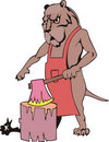 Dog butcher cartoon Royalty Free Stock Photo