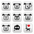Dog buttons set happy sad angry isolated on white vector of cute charater expressing anger happiness Stock Photos