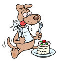 Dog with cake Stock Photography