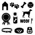 Dog care set of icons in black Royalty Free Stock Images