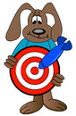 Dog cartoon holding target Royalty Free Stock Images