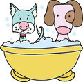 Dog and Cat Bath Royalty Free Stock Photography