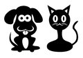 Dog and cat cartoon image of in black color Royalty Free Stock Images