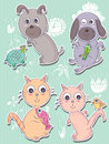 Dog cat cute eps illustration of and set with pets this file info version illustrator document inches width height document Royalty Free Stock Image