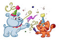 Dog and cat enjoying party cartoon illustration of cute celebration white background Stock Images