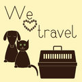 Dog, cat and pet carrier Royalty Free Stock Photo