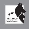 Dog and cat silhouettes veterinary shop poster Stock Photos