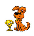 Dog champion cup prize isolated illustration cartoon Royalty Free Stock Photo