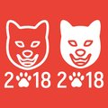 Dog, Chinese zodiac 2018 year line and glyph icon Royalty Free Stock Photo