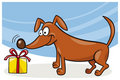 Dog and christmas gift Stock Photo