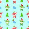 Dog christmas seamless pattern