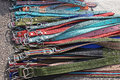 Dog collars big bunch of classic textile Stock Photos
