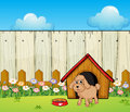 A dog with a dog house inside the fence illustration of Stock Photo