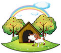 A dog with a dog house near an apple tree illustration of on white background Royalty Free Stock Photo