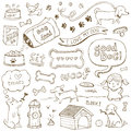 Dog doodles dogs and accessories illustrated in a doodled style Royalty Free Stock Photo