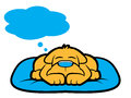 Dog dream cartoon puppy sleeping and thinking with thought bubble Stock Photos