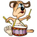 Dog drummer Royalty Free Stock Images