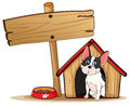 A dog and the empty signboard illustration of on white background Royalty Free Stock Images