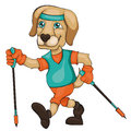 The dog is engaged in Nordic walking. Cartoon style.