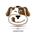 Dog face happy logo and white background Royalty Free Stock Photo