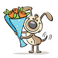 Dog with flowers vector quick sketch of a happy Royalty Free Stock Image