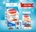 Dog food brand ad vector realistic illustration
